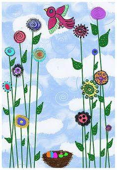 whimsical spring like digital folk art painting