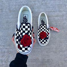 60e79add21adc5 These Vans Sneakers for women. Obsessive. Vans slip on checkered vans  custom vans embroidered
