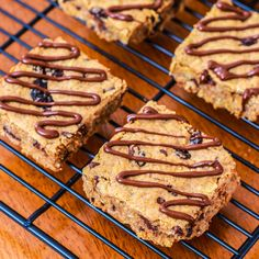 Healthy Chunky Peanut Butter Oatmeal Bars- Delicious. They make a great snack or a great healthy dessert!
