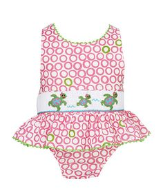 Look what I found on #zulily! Pink & Green Sea Turtles Sunsuit - Infant, Toddler & Girls by Velani Classics #zulilyfinds