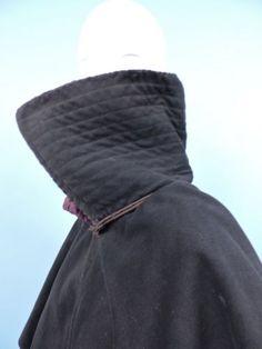 RARE 18TH C MEN'S LAYERED WOOL RIDING CLOAK W VELVET COLLAR
