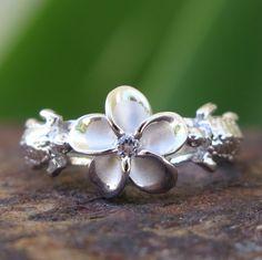 Hawaiian Sterling Silver Honu Turtle Plumeria Flower CZ Wedding Ring Band SR3238 in Jewelry & Watches, Fashion Jewelry, Rings | eBay