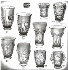 Weil Ceramics & Glass Inc. Catalog For Barolac Sculpture Glass - Czech Bohemian Glass That Is Often Found With Fake or Forged R. Lalique France Signatures: Page 9 Glass Molds, Pressed Glass, Czech Glass, Blue Green, Catalog, Glass Vase, Art Deco, Bohemian, Ceramics