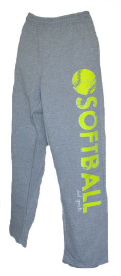 SOFTBALL Sweatpants in Grey with Neon Yellow Print - solomonhairstyles Softball Coach, Girls Softball, Softball Players, Fastpitch Softball, Softball Cheers, Softball Pitching, Volleyball, Cheerleading, Softball Crafts