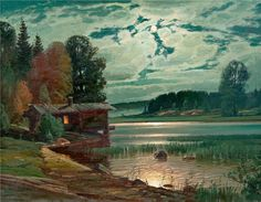 Wille Salonen (1918-1970s) - Moonlight on shore - Finland -  He was the twin brother of Lauri Salonen (1918-1986). He always lived in Finland and never moved to Canada as his brother did.  He was more prolific than Lauri with similar artistic themes - landscapes featuring lakes and forests.  Both Lauri and Wille were boxers in Finland before World War II.  Both were conscientious objectors due to their Jehovah's Witness faith, and Lauri was in jail for much of World War II as a result.