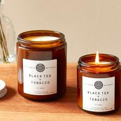 Black Tea + Tobacco Candle by Rio Santo Naturals – Seven Colonial - Kerze Candle Packaging, Candle Labels, Candle Jars, Soy Candle, Tea Candles, Black Candles, Scented Candles, Chai Tea Recipe, Natural Candles