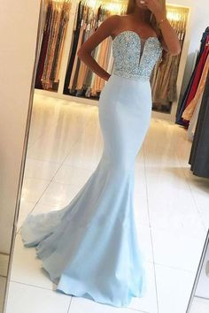 Light Sky Blue Prom Dresses Long Mermaid Formal Evening Dresses 2019 Sexy Military Ball Dresses V-neck Modest Pageant Graduation Party Dresses Silk-like Satin dresses by occasions Sexy Formal Dresses, Cute Prom Dresses, Blue Evening Dresses, Mermaid Evening Dresses, Elegant Dresses, Bridesmaid Dresses, Party Dresses, Evening Gowns, Evening Party