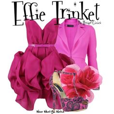 Inspired by Elizabeth Banks as Effie Trinket in The Hunger Games franchise. Fandom Fashion, Geek Fashion, Couple Dress Up Ideas, Effie Trinket Costume, Character Inspired Outfits, Disney Bound Outfits, Themed Outfits, Disney Style, Playing Dress Up