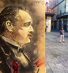 The Godfather/ Marlon Brando by C215 in Palermo, Sicily, 7/16 (LP)