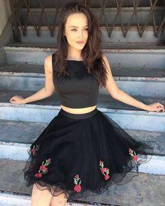 short black homecoming dress, homecoming dresses, 2017 short homecoming dress, floral embroidery homecoming dress party dress