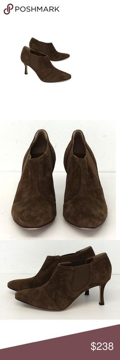 "Manolo Blahnik- Brown Suede Shooties Sz 7.5 These brown suede shooties are easy to slip on and go. Pair it with tights for a nice contrast. Size 7.5 (IT 37.5) Leather soles Very light wear on outsoles Suede upper Made in Italy Heel Height 3"" Manolo Blahnikis a Spanish fashion designer and founder of the self-named, high-end shoe brand. This designer's shoes have been featured in movies and TV shows. They are extremelypopularin high end department stores and with celebrities. Manolo Blahnik…"