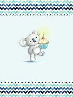 Gail Yerrill - Gail Yerrill Katy Koala With Cupcake Birthday Cute003
