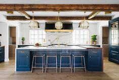 BECKI OWENS— Kitchen Design Inspiration: 3 Blue Beauties❤️. Benjamin Moore Newburg Green, brass hardware, Visual Comfort Morris Lantern and Siena Flush Mount, marble waterfall counter, butcher block, vintage rug, Jean Stoffer Design.