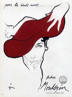 Montézin (Millinery) 1950 René Gruau, Hat