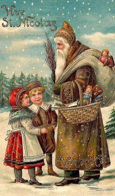 Old Christmas Postcard — St. Images Vintage, Vintage Christmas Images, Old Christmas, Old Fashioned Christmas, Christmas Scenes, Victorian Christmas, Father Christmas, Christmas Pictures, Christmas Greetings