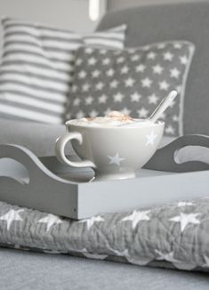 Don't you just love these matching grey star cushions  tea cup?