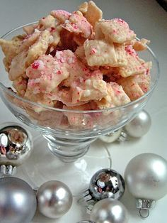 Chex Mix, white chocolate, peppermint.    not the kind of thing I would usually make but this sounds like a nice treat.