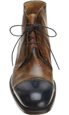 Brown Black Leather Harris Cap Toe Chukka Boot. Men's Fall Winter Fashion.