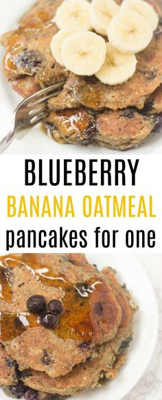 Blueberry banana oat pancakes make a delicious breakfast!