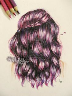 Colored Hair Pencil Drawing
