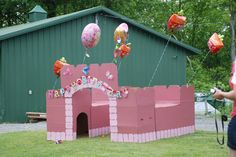 A SweetPea Beauty Birthday Party has to have a castle.  This one is made from zip ties and old boxes.  The pink paint was in the sale bin at Lowe's for five bucks.  The kids love it and she still plays with in it.