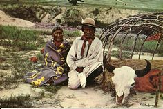 Brave Wolf and wife beside the sweat lodge (1901) postcard, Cheyenne, photo by L.A. Huffman, hand-colored, The Huffman Pictures, c1969 by Jack Coffrin, Miles City, Mont