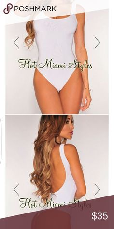 Bodysuit White bodysuit with low back exposure. Never worn just tried on and it was too big. Size L hot miami styles  Tops Blouses