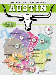 """The """"Insider Tips on the Best Neighborhoods in Austin, Texas"""" infographic features 13 different neighborhoods in Austin that are categorized based on demog Living In Austin Texas, Austin Tx, Texas Travel, Travel Usa, Viaje A Texas, Austin Neighborhoods, Austin Shopping, Moving To Texas, Lake Travis"""
