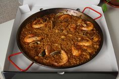El Caldero offers paella to go for its customers - and this enormous seafood paella certainly hit the spot - definitely some of the best paelle in Madrid