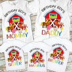 Set de granja Animal cumpleaños familia camisetas hermano