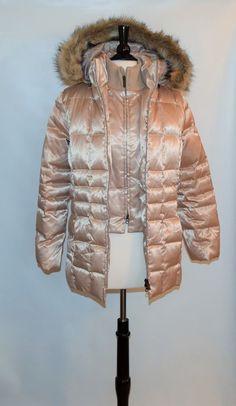 STYLE & Co. Ivory Beige Filling 55% Down Womens Zipper Long Jacket coat Size S #STYLECo #BaseballJacket