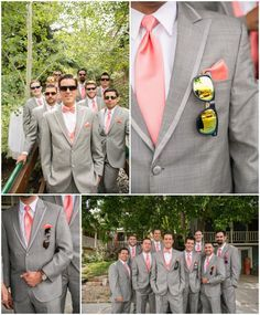Pink Gray Groomsmen..Groomsman not wearing a vest and the groom is wearing a vest. Great idea.