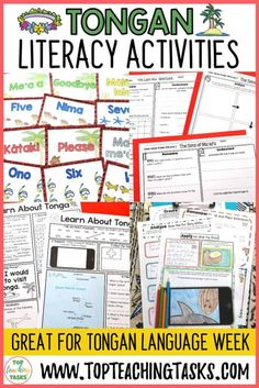 Tongan Language Week activities. This Tonga Literacy Bundle of differentiated reading, writing, thinking activities and language posters is a great way to focus on the Tongan language and culture. This would be perfect to use during Tongan Language Week – Uike 'o e Lea Tonga.