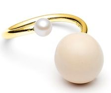 Ring - Cashmere and white pearl - by Louise Kragh