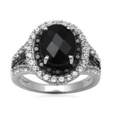 Sterling Silver Onyx with Created White Sapphire and Black Diamond Ring by Amazon Curated Collection - See more at: http://blackdiamondgemstone.com/jewelry/rings/sterling-silver-onyx-with-created-white-sapphire-and-black-diamond-ring-com/