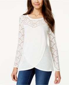 American Rag Pleated Illusion Lace Tulip-Front Tunic Top, Only at Macy's - Juniors Tops - Macy Blouse Styles, Blouse Designs, Dress Designs, Long Kurtis Online, Lace Tunic, Indian Designer Outfits, Embroidery Fashion, Blouse And Skirt, Mode Hijab