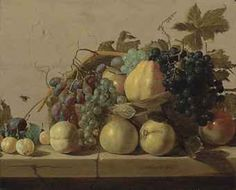 Claes van Heussen; Grapes and pears in a woven basket, with pears, peaches, apricots and a plum on a stone ledge, with a fly on the stone wall