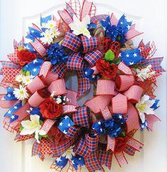 Patriotic Wreath 4th of July Wreath Americana Wreath