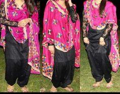 Punjabi phulkari suit...black and majenta