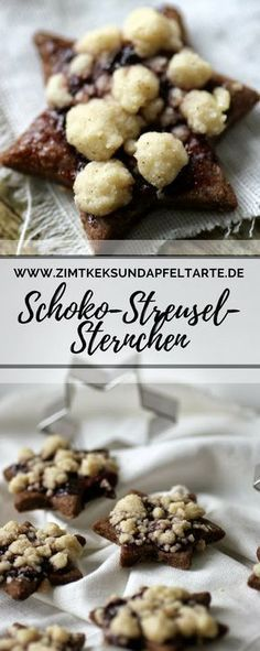 Streuselsternchen - chocolate chip cookies with crumble and jam - cinnamon biscuit and apple tart- Streuselsternchen – Schokoladenkekse mit Streuseln und Marmelade – Zimtkeks und Apfeltarte simple and quick recipe for wonderful … - Cinnamon Biscuits, Chocolate Biscuits, Chocolate Chip Cookies, Cinnamon Cookies, Food Cakes, Christmas Desserts, Christmas Baking, Christmas Cookies, Chocolate Sprinkles