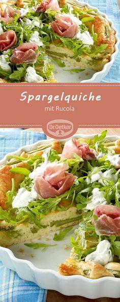 Spargelquiche mit Rucola: Ein würziger Gemüsekuchen mit Spargel nicht nur zur Mittagszeit #spargel #rezept #quiche