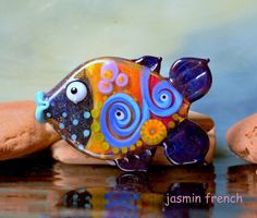 jasmin french ' seaweed fishy ' lampwork focal glass art bead by jasminfrench on Etsy https://www.etsy.com/listing/287864937/jasmin-french-seaweed-fishy-lampwork