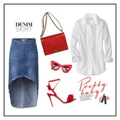 """""""Denim Skirt"""" by romana-aa ❤ liked on Polyvore featuring Chanel, Aquazzura and denimskirt"""