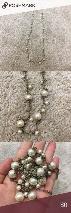 Long pearl necklace Long gold and pearl necklace Vintage Jewelry Necklaces