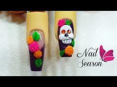 Uñas decoradas halloween nail art diseño calavera de azucar 2015 - YouTube