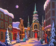 Magie hivernale by Louise Marion - Louise Marion, artiste peintre, paysage urbain, Quebec, couleurs