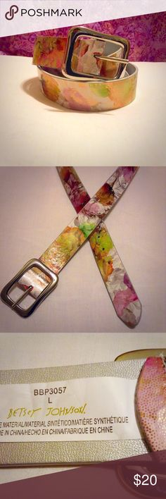 """Betsey Johnson Belt A One of a kind! This is an authentic Betsey Johnson shimmering floral belt that is very unique. I love this belt and the only reason I'm selling it is because it has gotten too big for me. It is a gently used item that does have a crease (ABOVE^) but no nicks or scuffs. The size is Large (29""""-33"""" waist) Betsey Johnson Accessories Belts"""