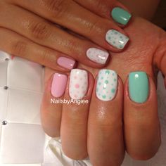 Gel with light pink and green design cute nail design for summer time ...