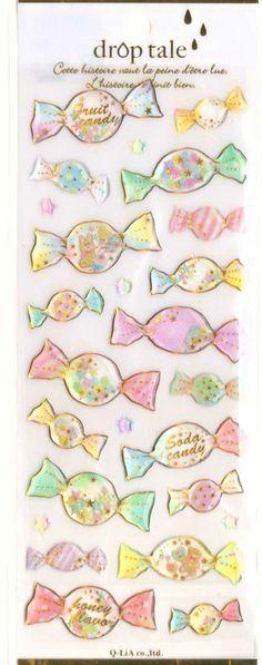 Kawaii Japan Sticker Sheet Assort Droptale Series: Bonbon Candy Shop - Flower Teddy Bear Bunny Stars by mautio on Etsy https://www.etsy.com/listing/203958371/kawaii-japan-sticker-sheet-assort