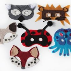 Get your DIY No-Sew Animal Masks (Free Template) to top off your Halloween costume, like a fox, bear, ladybug or octopus...